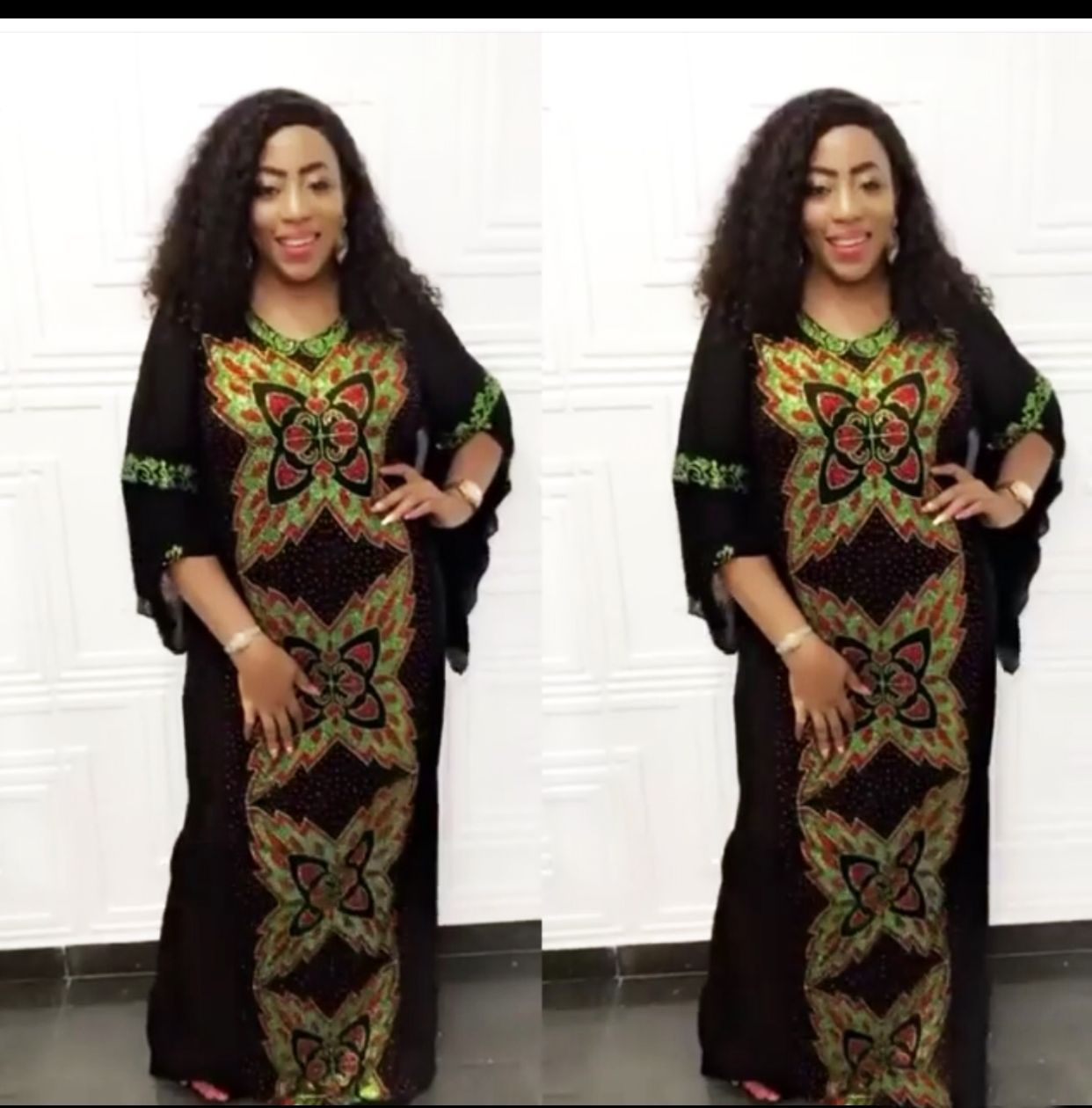 2019 New Arrival Elegent Fashion Style African Women Beauty Printing Plus Size Long Dress