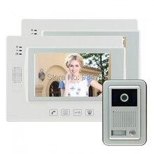 7 pulgadas de seguridad de vídeo por cable portero automático sistema de teléfono timbre del IR de la cámara del Monitor 1V2