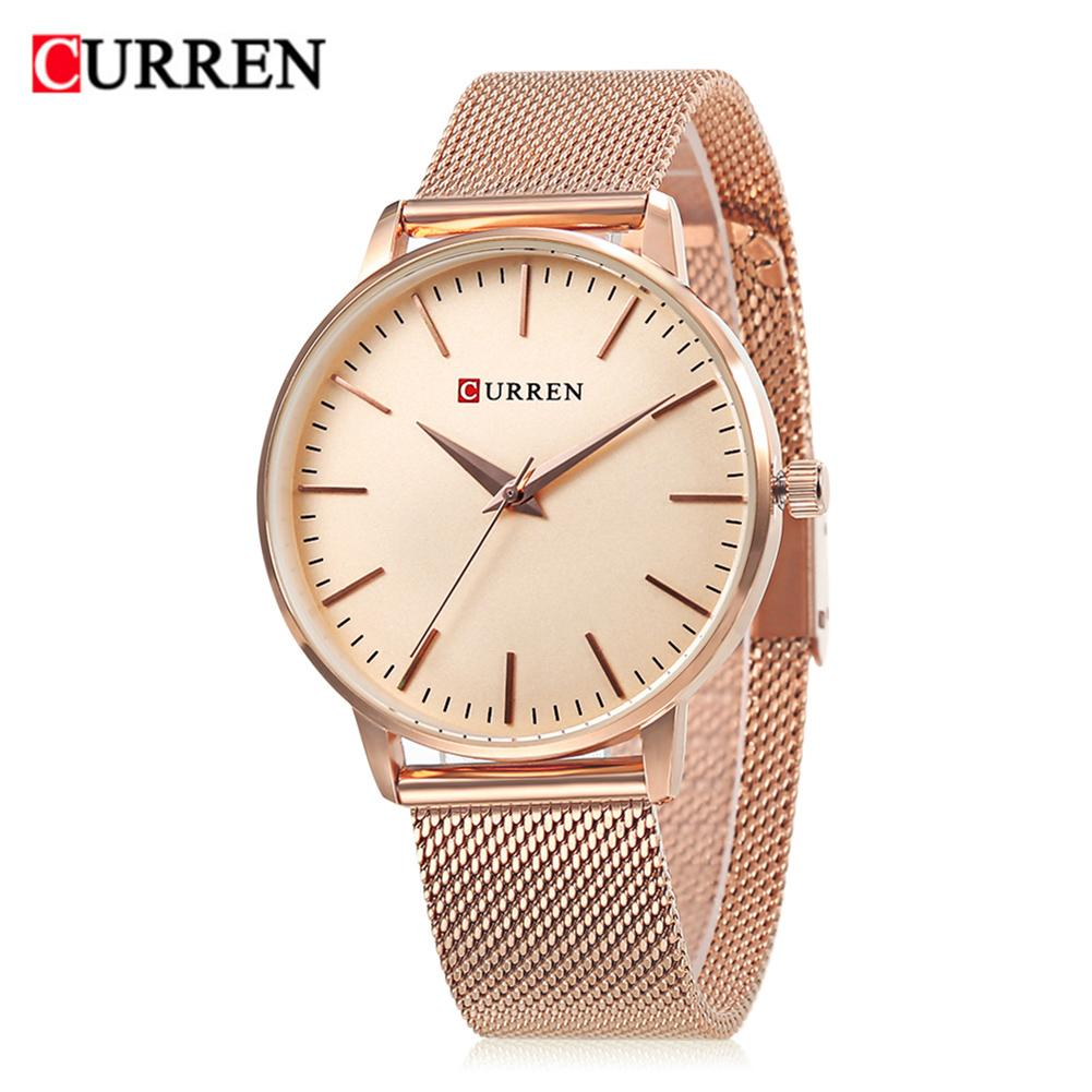 CURREN 9021 Luxury Brand Women Quartz Watch Fashion Ultra-Thin Ladies Stainless Steel Quartz Watch Gift Watch