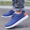 Zapatos de los hombres 2016 nueva Moda Transpirable zapatos de lona de los hombres Azul gris zapatos Casuales de Color Gris