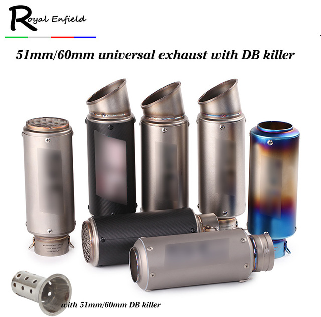 Universal 51mm 61mm modified motorcycle exhaust For gsxr 750 CBR10000 Z1000  Z800 BN600 muffler pit bike with DB killer