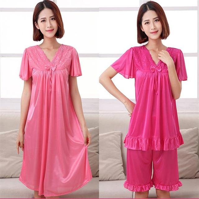 Free Shipping 2017 Women Summer Plus Size Ice Silk Nightgown Female Large  Size Short Sleeve sleepwear Set and Homewear Pajamas 1221c4539605