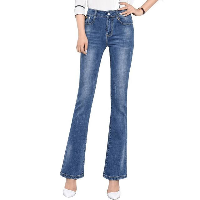 Mulher Magra Sino calça jeans de Fundo Extra Longas Calças de Brim Queimado  alongou grande Tamanho 4aa0693536