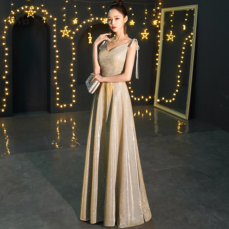 weiyin Sexy Satin   Evening     Dress   2019 Long A line Prom   Dresses     Evening   Party   Dresses     Evening   Gown Robe De Soiree WY1512