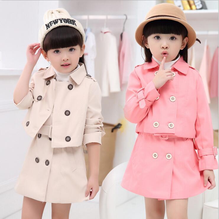 ФОТО Kids Tracksuit For Girls Windbreaker Jacket Two - piece Skirt Roupas Infantis Menina  Solid Long Sleeve Toddler Girl Clothing