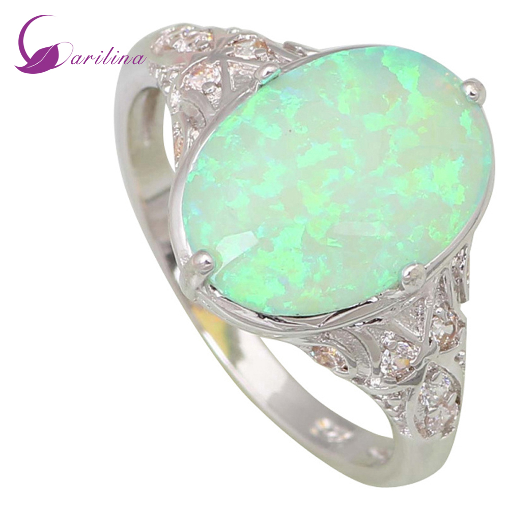 Fashion Opal rings Fine Jewelry Women's rings Green Fire Opal Silver Filled Gift ring size 5 6 7 8 9 R444