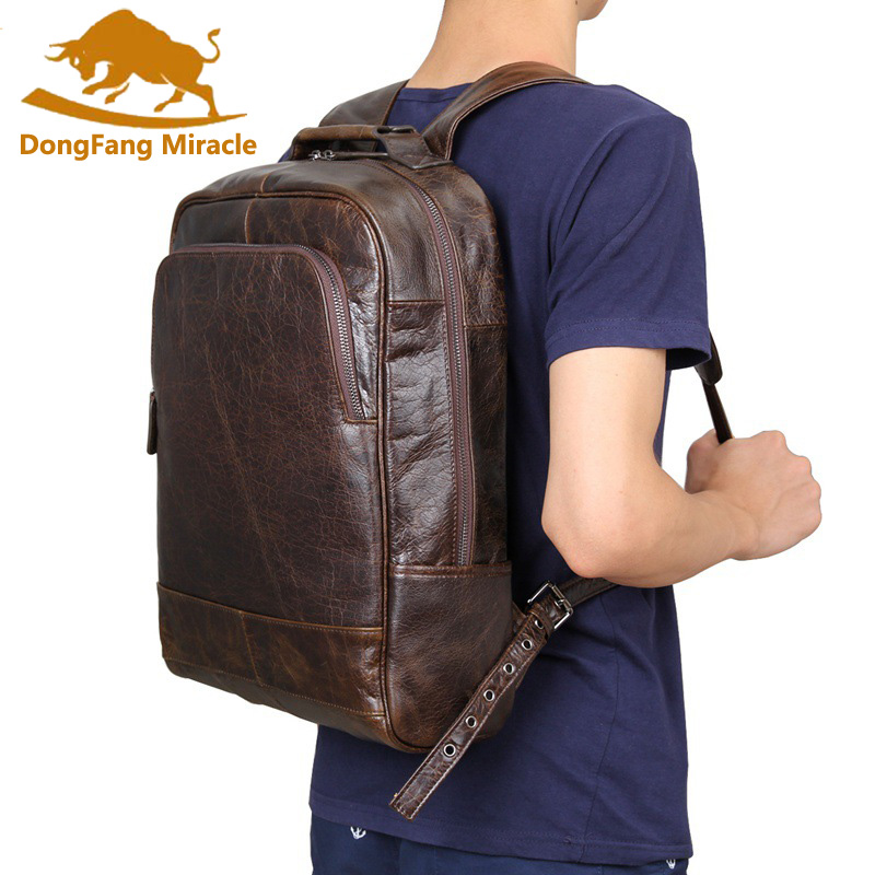 DongFang Miracle New Vintage Real Genuine Leather Unisex Daily Backpack For Men Satchel Large Capacity School Bag Travel Bags real genuine leather vintage backpack men school male daily backpack coffee gray fashion leisure men s travel bags vp j7280