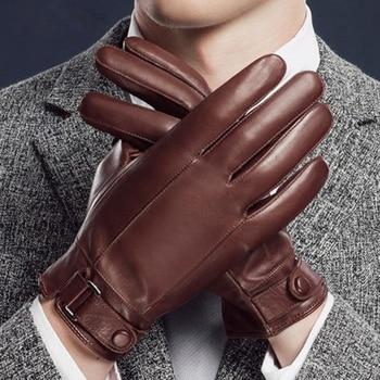 Winter Genuine Leather Men Gloves New Style Five Finger Warm Velvet Fashion Trend  Sheepskin Glove For Driving NM938-5 genuine leather gloves men winter warm plus velvet thick sheepskin fashion new driving leather gloves gr 206 5
