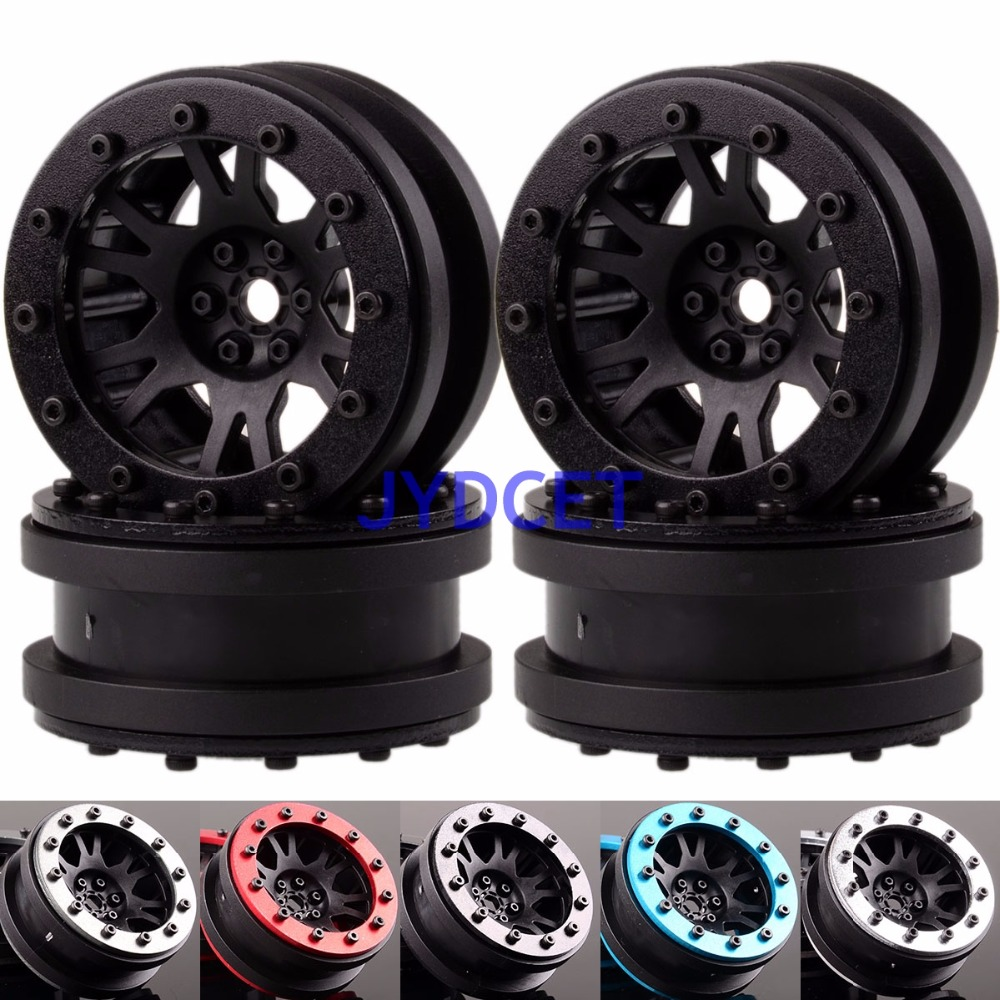 1068 1.9 Nylon Wheel Rim & Aluminum Beadlock For RC 1/10 Rock Crawler TRX4 SCX10 2pcs 2 2 metal wheel hubs for 1 10 scale rc crawler car nv widen version outer beadlock wheels diameter 64 5mm width 43 5mm