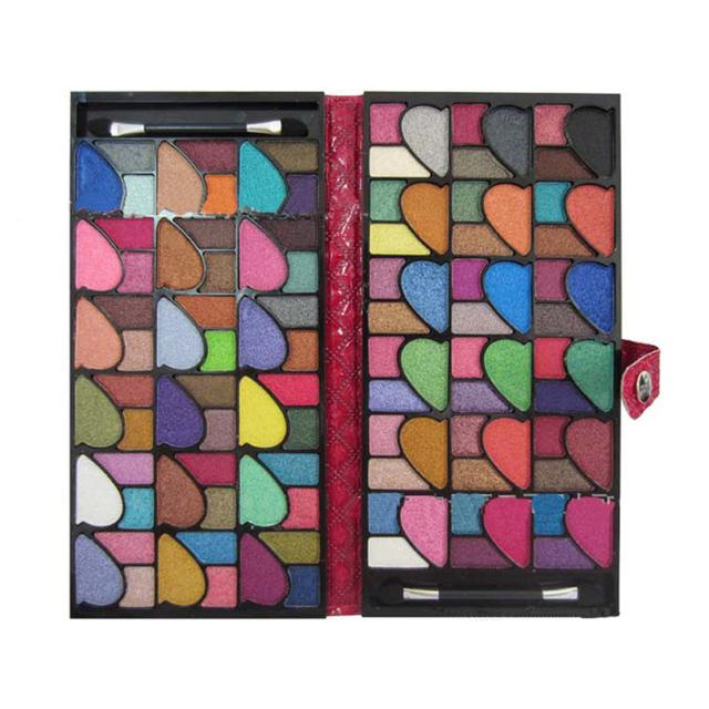 Metade Coração forma Pro 96 Cores Shimmer Sombra Make Up estojo De Couro Kit Pigmento paleta da sombra de olho maquiagem cosméticos Maquiagem