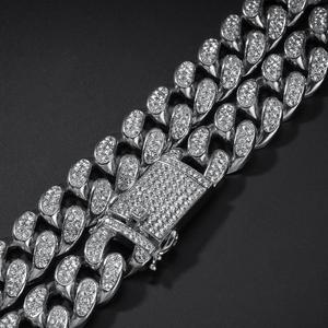 Image 5 - 2019 Men Hip hop  Iced Out Bling chain Necklace pave setting rhinestone 20mm width Miami Cuban chains necklaces Hiphop jewelry