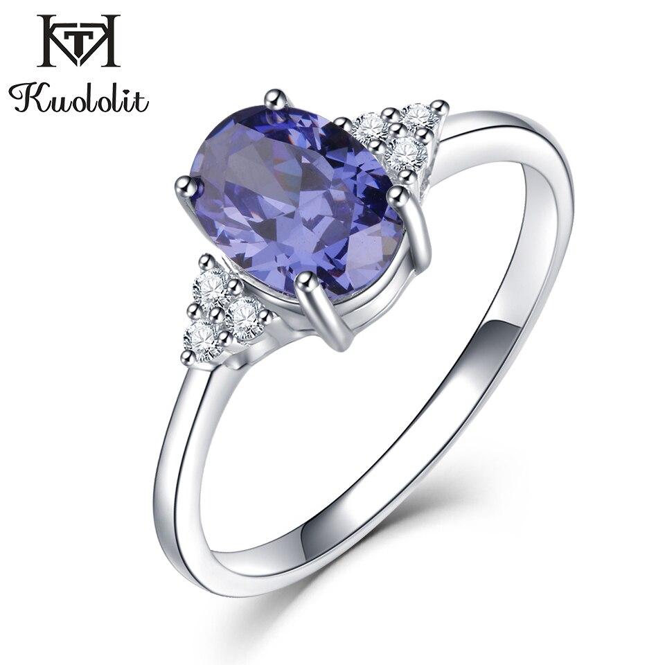 Kuololit Solide 925 Sterling Silber Ringe Für Frauen Erstellt Tanzanite Edelstein Ring Hochzeit Engagement Band Feine Schmuck Neue