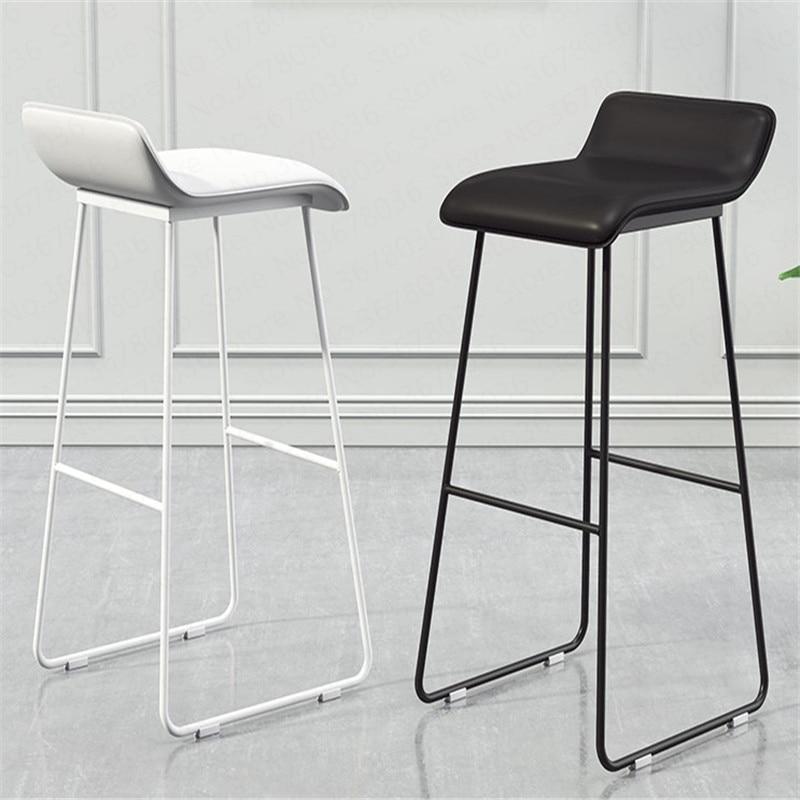 29%Nordic Bar Chair Coffee Milk Tea Lounge Chair Simple Bar Stool Designer Wrought Iron Gold High Chair Padded Bar Chair