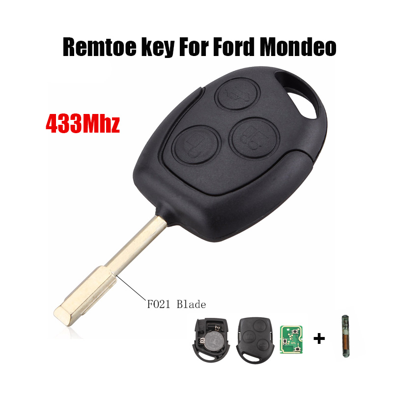 3 Buttons Car Remote Key 433MHz with 4D60 Chip for FORD Focus Fiesta Mondeo C MAX Fusion Transit KA Keyless Entry FO21