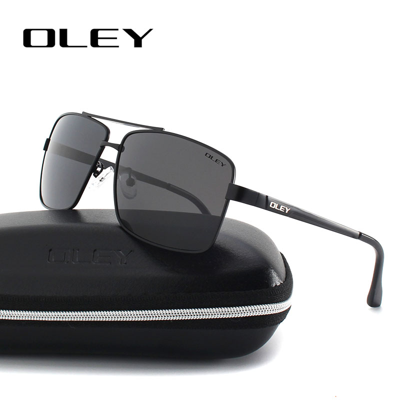 Oley mote Mens Solbriller merke designer Polarized Square Sun Glasses for menn Vintage Eyewear fiske drivere glass Y1612