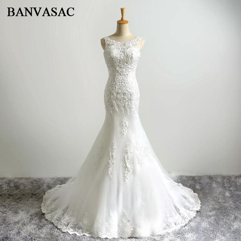 BANVASAC 2017 Ny Havfrue Elegant Broderi O Nakke Bryllup Kjoler Ædeløse Satin Perler Sweep Train Blonder Brudekjoler