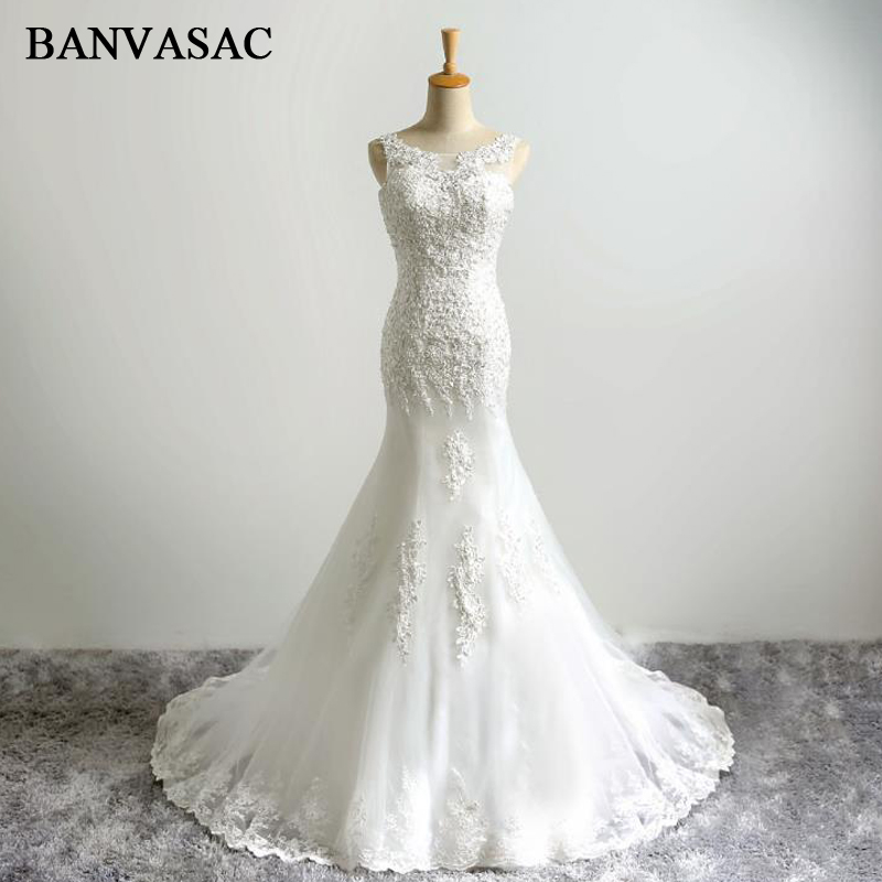 BANVASAC 2017 Mermaid Baru Elegan Bordir O Neck Wedding Dresses Tanpa - Gaun pengantin