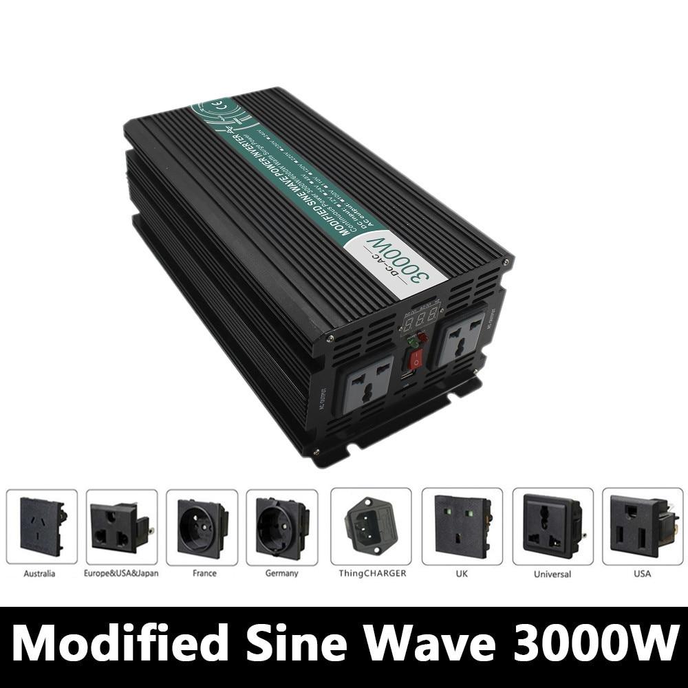 3000W Modified Sine Wave Inverter,DC 12V/24V/48V To AC110V/220V,off Grid Solar voltage converter With Panel Charger And UPS 5000w dc 48v to ac 110v charger modified sine wave iverter ied digitai dispiay ce rohs china 5000 481g c ups