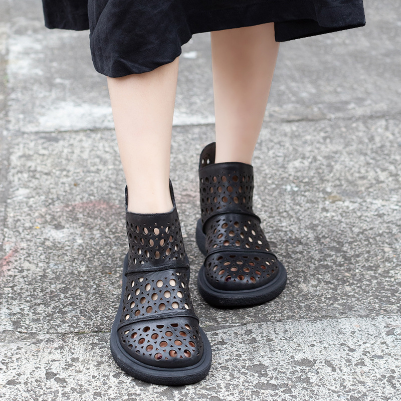 Casual Leather Boots Woman Sandals 2019 Summer Hollowed Breathable Boots head layer cowhide Round Head Ankle Boots
