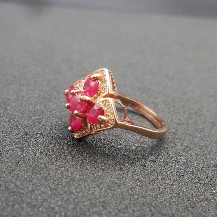 925 стерлингов Природный Рубин кольцо открытие модные подарки могут быть выполнены по индивидуальному заказу к кругу ...