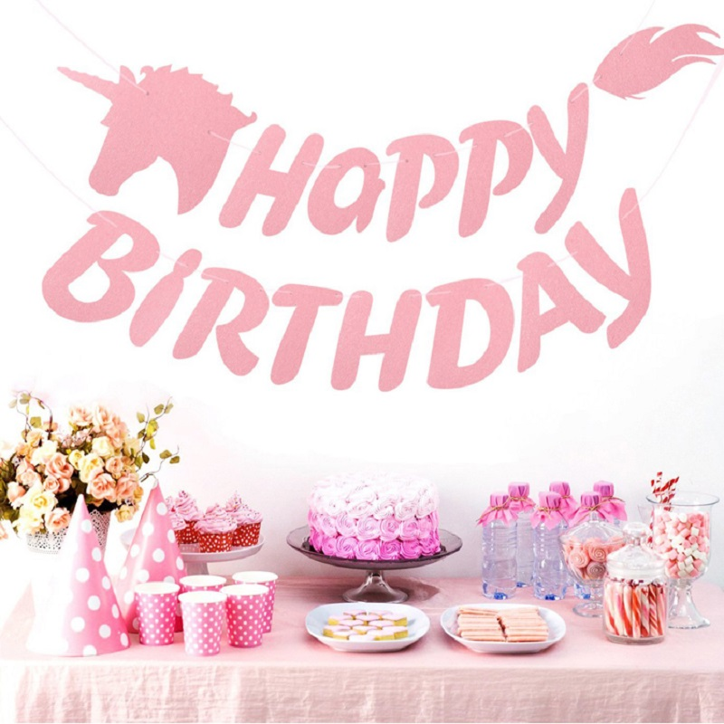 Us 3 24 41 Off Unicorn Theme Diy Garland Happy Birthday Pink Unicorns Banner Bunting Hanging Birthday Party Supplies Bedroom Decor Unicornio In