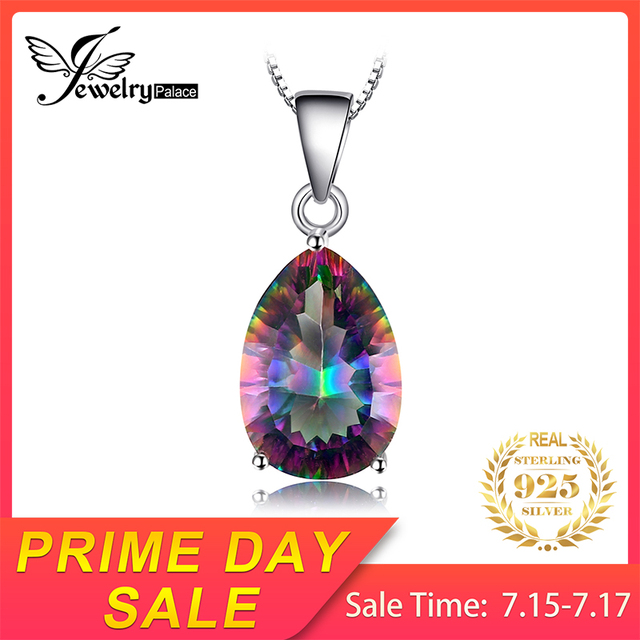 JewelryPalace 4ct Genuine Multicolor Rainbow Fire Mystic Topaz Pendant Pear Pure 925 sterling Silver Brand New Without Chain