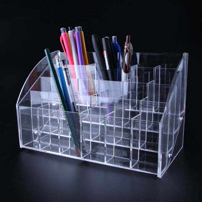 Clear Acrylic Multifunction Office Organizer Desktop Pen Pencil Holder Nail Polish Rack Stationery Accessories Jewelry Container
