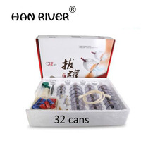 Cheap 32 Cans 12 Cans cups chinese vacuum cupping kit pull out a vacuum apparatus therapy relax massagers curve suction pumps