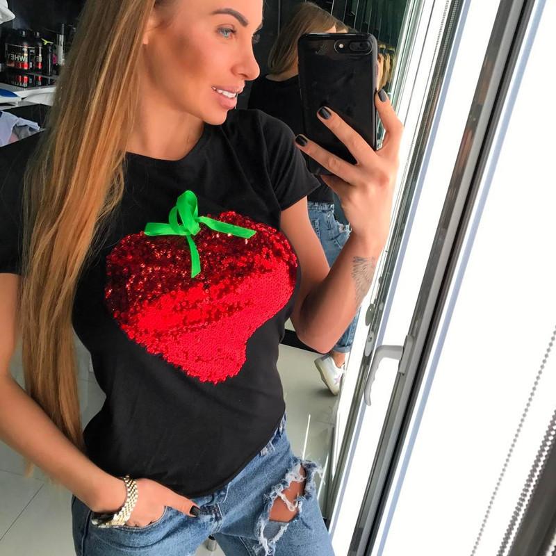 HTB1PBUSQFXXXXbOXXXXq6xXFXXX9 - Strawberry Red Sequins Women Casual Short Sleeve Cotton Shirt 2017