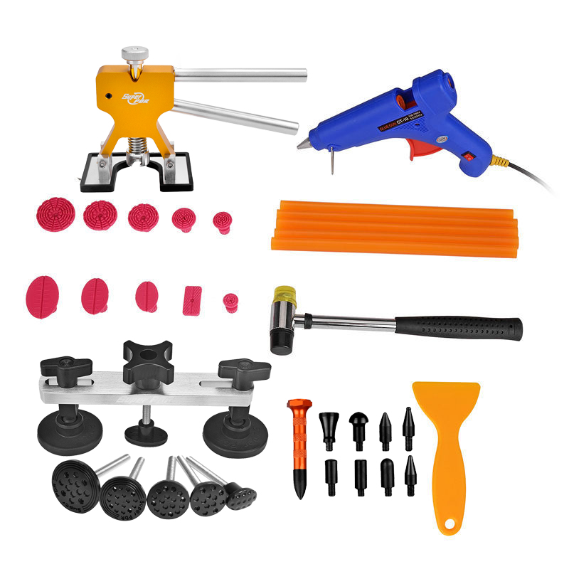 Super PDR Dent Removal Paintless Dent Repair Tools Dent Puller Pulling Bridge Puller Dent Lifter Glue Tabs Hammer Tools  super pdr car paintless dent repair tools kit t bar dent lifter green dent puller pulling bridge set glue gun dent tabs