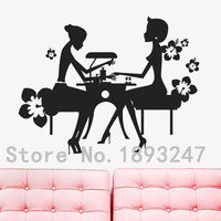 Sexy Girl Nail Salon Hairdresser Beauty Nail Manicure Removable Vinyl Wall Decal Wall Sticker Hair Shop Window Decoration