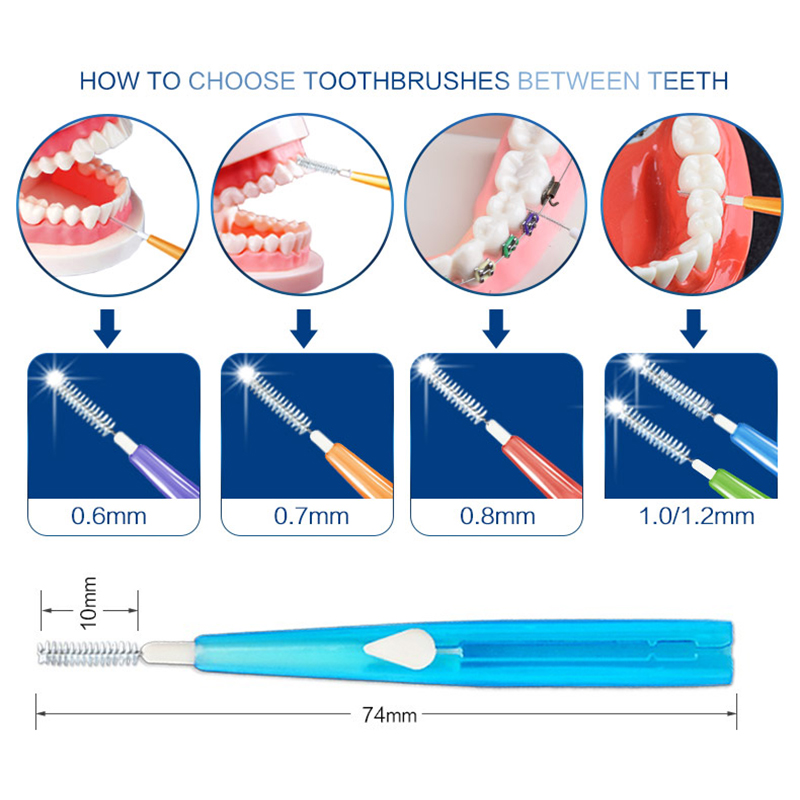 10pcs Adults Interdental Brush Clean Between Teeth Dental Floss Pick Push-pull Toothpick Cleaning Dental Brushes Teeth Care 2