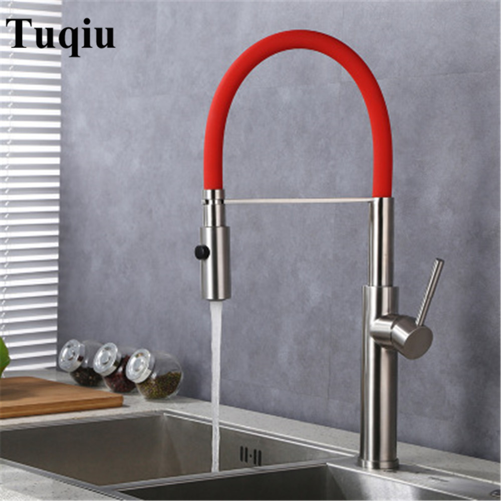 Kitchen Sink Faucet Pull Out Nickle Brush 360 Degree Swivel Single Handle Mixer Tap Kitchen Vegetable faucet kitchen sink faucet pull out pull down black brushed 360 degree swivel single handle mixer tap kitchen vegetable faucet torneira