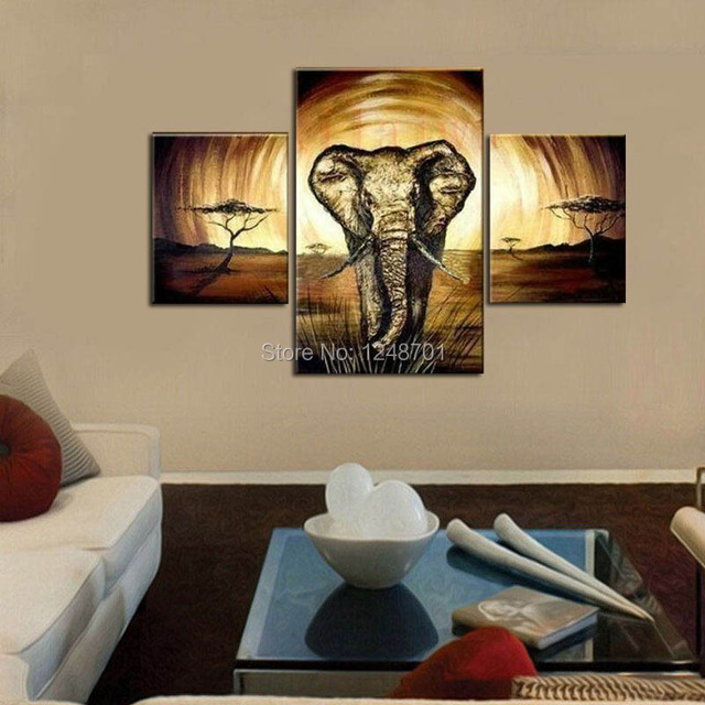 Handmade large wall abstract art 3 pieces elephant painting series oil paintings large size canvas art