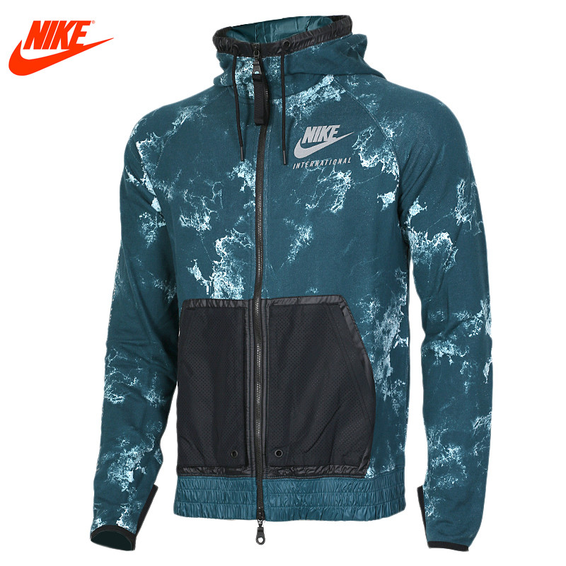цена на Authentic Nike men's spring sports knitted hooded jacket 802368-346