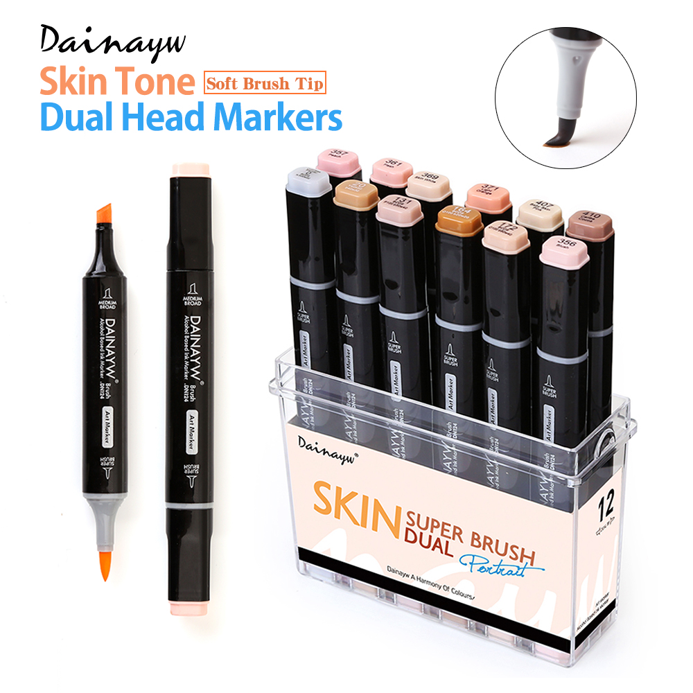 12 Farben Hauttöne Soft Brush Markers Set Alkoholbasierter Sketch Marker Pen für Manga Professional Drawing Art Supplies