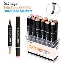 12 Цветов тонов кожи мягкой щетки набор маркеров на спиртовой основе фломастер для скетчей для Manga Профессиональный рисунок товары для рукоделия
