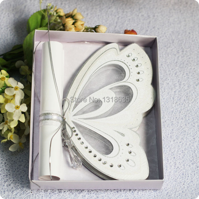 Dancing butterfly ivory scroll wedding invitation birthday cards