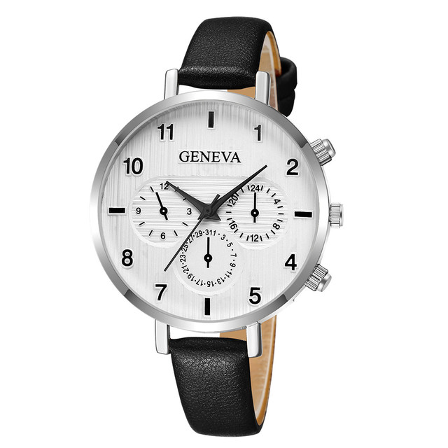 DROPSHIP relogio 2018 Women's Watches GENEVA Fashion Leather Bracelet Watch Womens Dress Leather Wrist Watch Relogio Feminino Ff