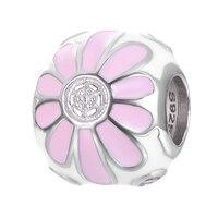 Moda kwiat wzór emalia ładny DIY S925 sterling srebrny koralik urok dla bransoletki i naszyjnik