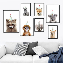 Panda Zebra Llama Raccoon Dog Deer Fox Wall Art Canvas Painting Nordic Posters And Prints Pictures For Kids Baby Room Decor