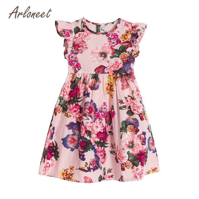 ARLONEET Babt Girls Dresses Baby Girls Kids Infant Toddle Floral Sleeveless Clothes Princess Dress FE8 Dropshipping