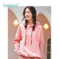 INMAN Winter New Arrival Female Hooded Patchwork Loose Sports Long Sleeve Women Sweatshirt