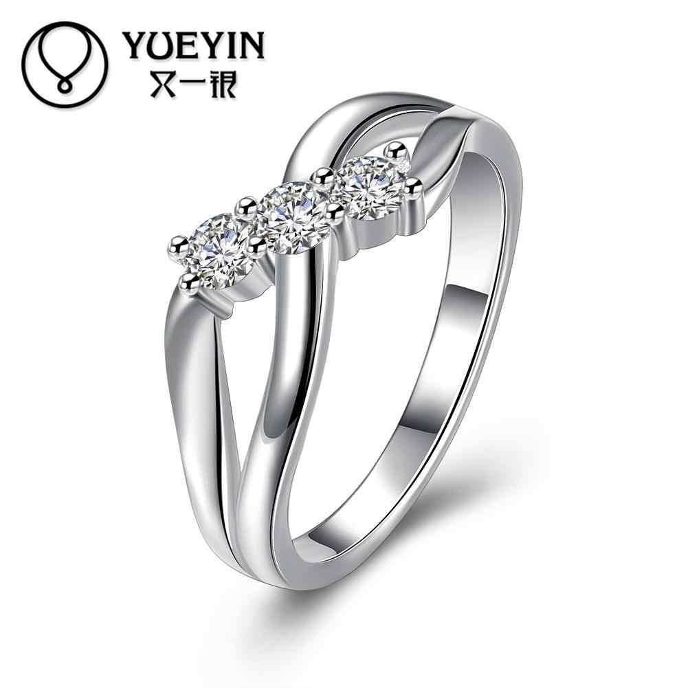 Silver plated wedding rings for bridal silver-plating jewelry anel feminino Not allergic Luxurious fashion rings