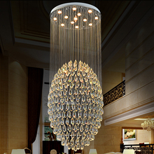 купить Modern luxury round crystal parlour hall chandeliers villa dining room foyer lobby restaurant stair hotel hanging drop lights по цене 37059.65 рублей