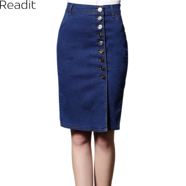 4e36645796 6XL Plus Size Women Denim Skirt Knee-length Pencil Denim Skirts Womens Blue  Black Bodycon Skirts Elagant Jupe Midi Skirt S2106