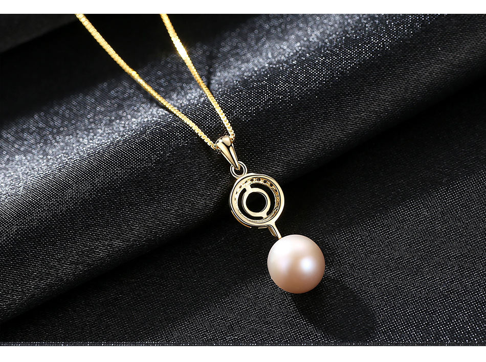Fashion S925 Sterling Silver Necklace Natural Pearl Pendant with 3A Zircon Female Necklace GS01 цена и фото