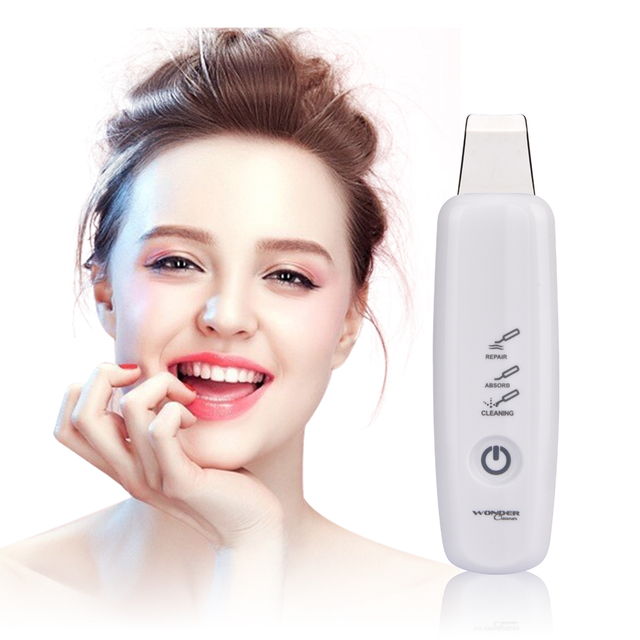 High Frequency Skin Scrubber Ultrasonic Ion Rechargeable Microdermabrasion Deep Cleaning Vibration Face Peeling Facial Massager