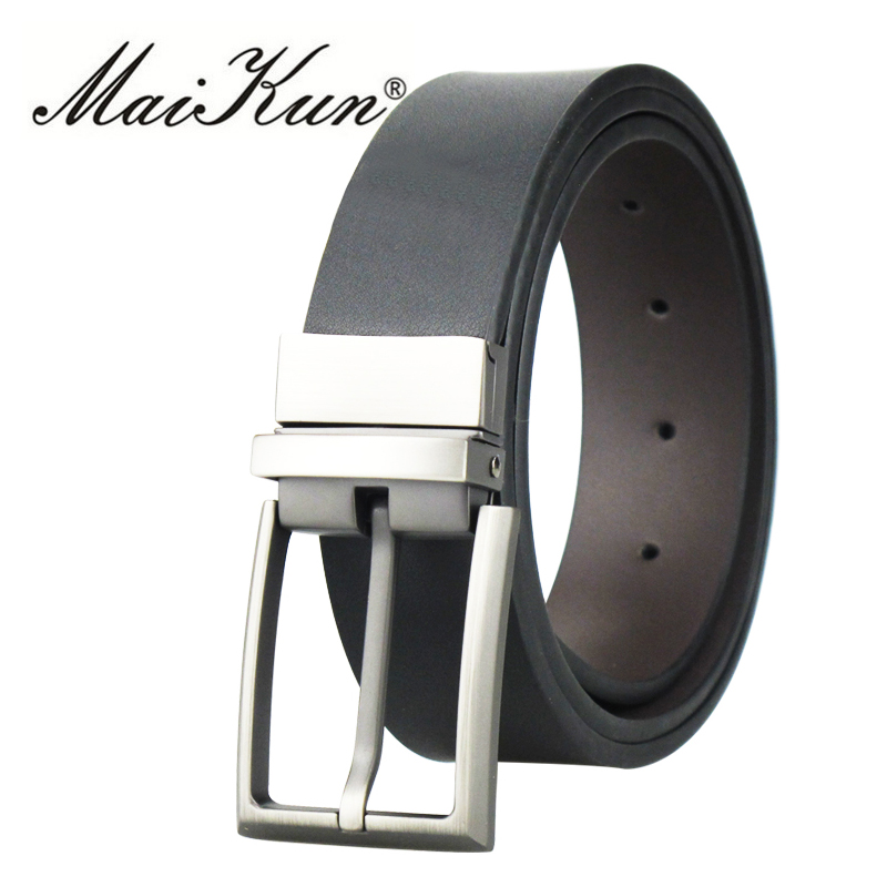 Cowskin Leather Belts for Men Belts Fashion Luxury Brand Male Strap Brushed Metal Pin Buckle High Quality Waistband