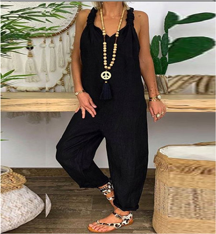 Women Loose Rompers Bib Overalls Wide Leg Pants Vocation Dungarees Casual Solid Jumpsuits Trousers Backless Long Playsuit Pants